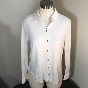 ANN TAYLOR • Long Sleeve Gold Button up